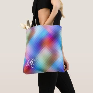 Monogram Glass Checkered Pattern Tote Bag