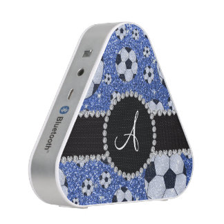 Monogram glitter blue soccer balls bluetooth speaker