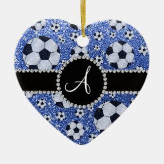Monogram glitter blue soccer balls ceramic ornament