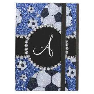 Monogram glitter blue soccer balls cover for iPad air