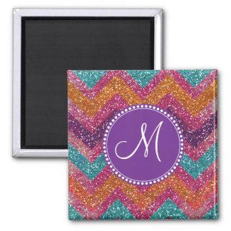 Monogram Glitter Chevron Pink Purple Orange Teal 2 Inch Square Magnet