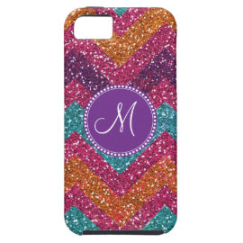 Monogram Glitter Chevron Pink Purple Orange Teal iPhone 5 Case