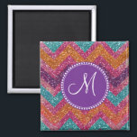 "Monogram Glitter Chevron Pink Purple Orange Teal Magnet<br><div class=""desc"">Add your own custom monogram to this Glitter Chevron Pink Purple Orange Teal pattern.    &quot;glitter&quot; &quot;glitter chevron&quot; &quot;zigzags&quot; &quot;chevron stripes&quot; &quot;pink and orange&quot; &quot;blue and pink&quot; &quot;colorful glitter&quot; &quot;chevron&quot; &quot;girly&quot; &quot;pretty&quot; &quot;teen&quot;</div>"