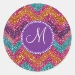 Monogram Glitter Chevron Pink Purple Orange Teal Round Stickers