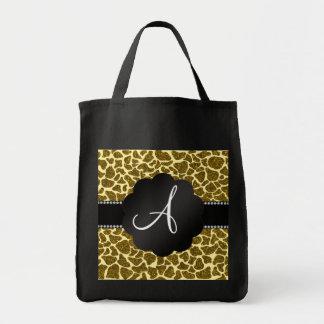 Monogram glitter giraffe print canvas bags