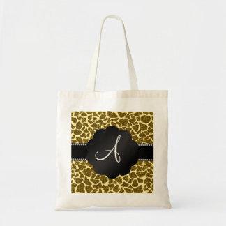 Monogram glitter giraffe print bags