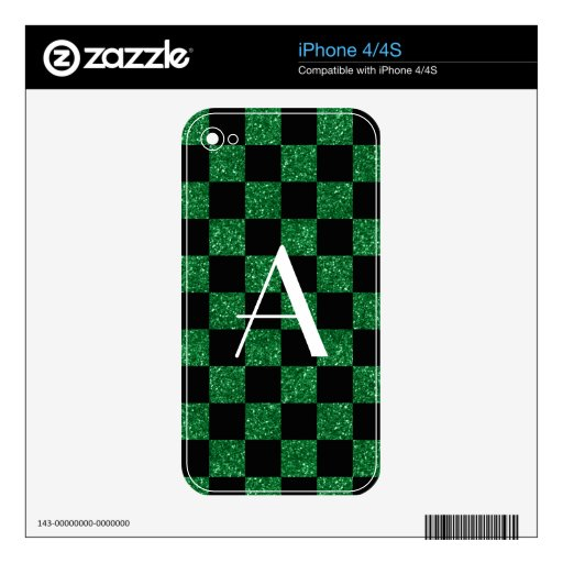 Monogram glitter green and black checkered skin for iPhone 4