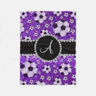 Monogram glitter indigo purple soccer balls fleece blanket