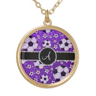 Monogram glitter indigo purple soccer balls round pendant necklace