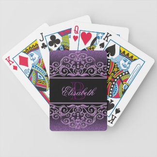 Monogram Glitter Lilac Bicycle Playing Cards