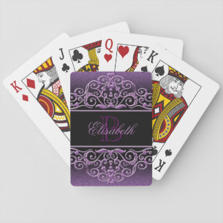 Monogram Glitter Lilac Playing Cards