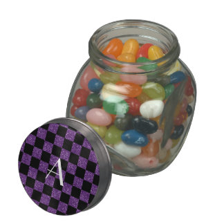 Monogram glitter purple and black checkered jelly belly candy jar