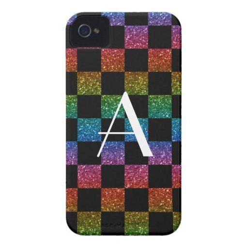 Monogram glitter rainbow and black checkered iPhone 4 Case-Mate case