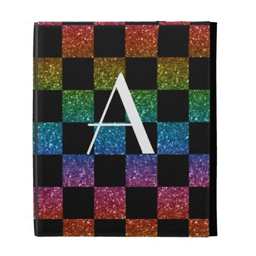 Monogram glitter rainbow and black checkered iPad folio case
