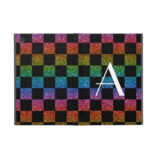 Monogram glitter rainbow and black checkered iPad mini cover