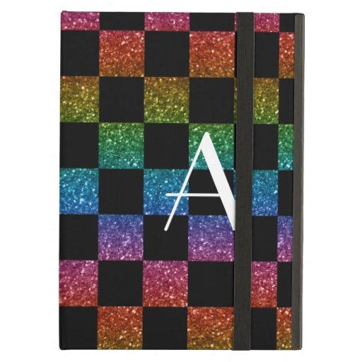 Monogram glitter rainbow and black checkered iPad folio cases