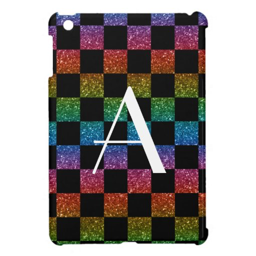 Monogram glitter rainbow and black checkered iPad mini covers