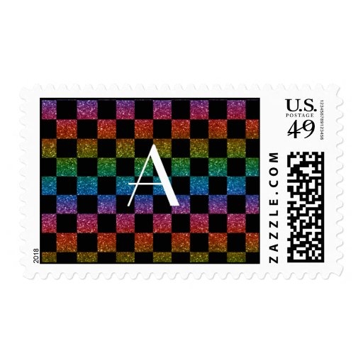 Monogram glitter rainbow and black checkered stamps