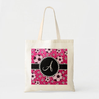 Monogram glitter rose pink soccer balls tote bag
