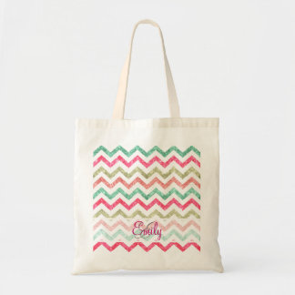 Monogram Glitter Teal Coral Emerald Red Chevron Tote Bag