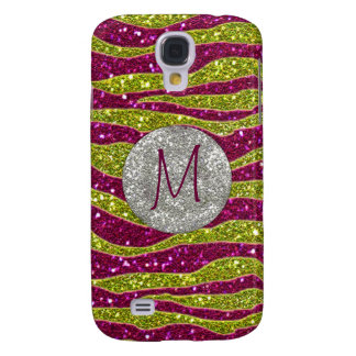 Monogram Glitters Yellow Pink Zebra Stripes Galaxy S4 Cases