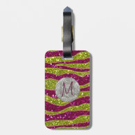 Monogram Glitters Yellow Pink Zebra Stripes Tag For Luggage