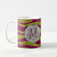 Monogram Glitters Yellow Pink Zebra Stripes Mug