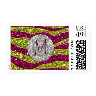 Monogram Glitters Yellow Pink Zebra Stripes Postage