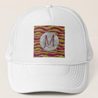 Monogram Glitters Yellow Pink Zebra Stripes Trucker Hat