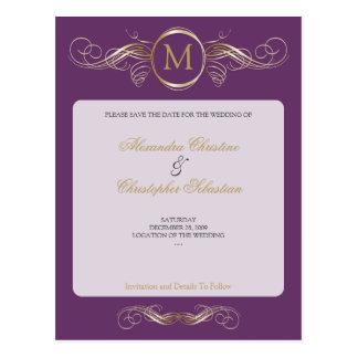Monogram Glod Swirls Elegant Purple Save the Date Postcard