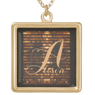 Monogram glowing gold plated necklace