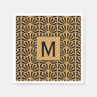 Monogram Gold and Black Art Deco Fan Flowers Motif Paper Napkin