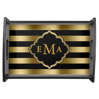 Monogram Gold And Black Stripes Geometric Pattern Serving Tray