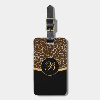 Monogram Gold and Brown Animal Print Bag Tag