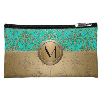 Monogram Gold and Turquoise Green Damask Cosmetic Bag