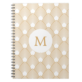 Monogram Gold and White Art Deco Pattern Notebook
