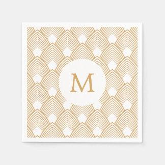 Monogram Gold and White Art Deco Pattern Paper Napkin