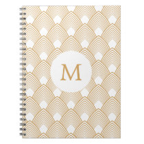 Monogram Gold and White Art Deco Pattern Spiral Notebook
