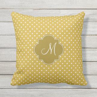 Monogram Gold and White Polka Dot Pattern Throw Pillow