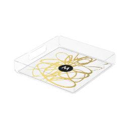 Monogram Gold Black Brushstrokes Perfume Tray
