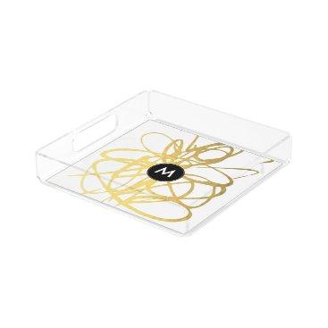Coffee Themed Monogram Gold Black Brushstrokes Perfume Tray