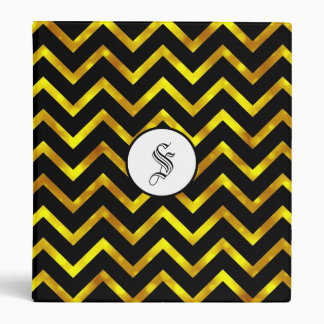 Monogram gold black chevron elegant binder
