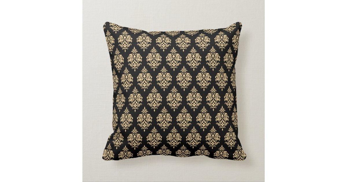 Monogram,Gold,Black,Damask Pattern Throw Pillow Zazzle