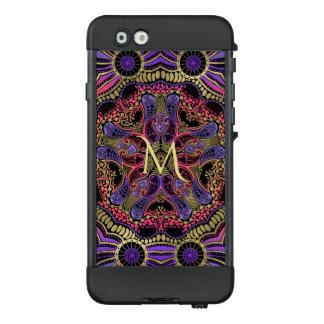 Monogram Gold Black Purple Mandala LifeProof Case