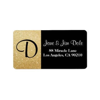 Monogram Gold & Black Return Address Label