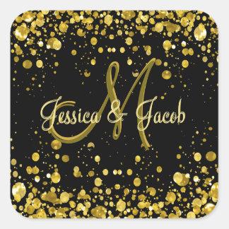Monogram | Gold Bubbles Square Sticker