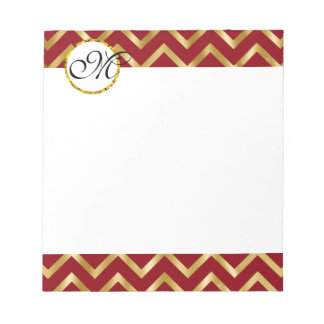 Monogram gold burgundy white professional notepad