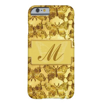 Monogram Gold Butterfly Barely There iPhone 6 Case