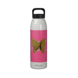 Monogram gold butterfly pink polka dots reusable water bottles
