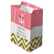 Monogram Gold Chevron with Pink Nautical Bridal Medium Gift Bag